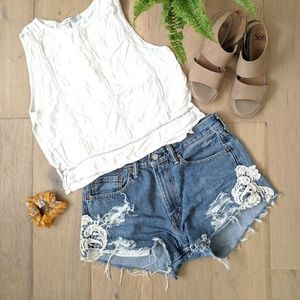 Levi's distressed cut off shorts with lace